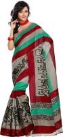 Vibes Printed Fashion Cotton Saree(Green)