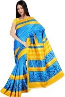 Khoobee Geometric Print Fashion Tussar Silk Saree(Light Blue, Yellow)