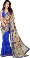 Vastrani Embroidered Fashion Georgette Saree(Blue, Beige)