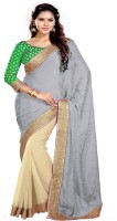 Sourbh Sarees Self Design, Solid, Embroidered Fashion Jacquard, Chiffon Saree(Grey, Beige)