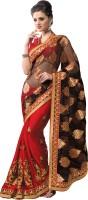 M.S.Retail Self Design Fashion Net, Chiffon, Brasso Saree(Black, Red)
