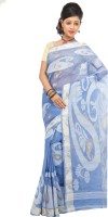 Mrsaree Self Design Tant Handloom Cotton Saree(Blue)