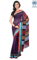Tantuja Striped Tangail Handloom Silk Saree(Purple, Black)