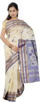 B3Fashion Woven Kosa Handloom Tussar Silk Saree(Beige)