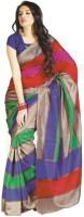 Gugaliya Striped Bollywood Art Silk Saree(Multicolor)