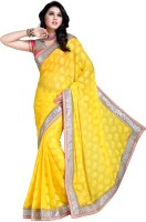 Khoobee Self Design, Embroidered Fashion Cotton Blend Saree(Yellow)