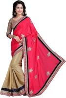 Khoobee Self Design, Embroidered Fashion Satin Blend, Chiffon Saree(Pink, Beige)