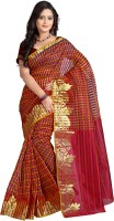 Vastrakala Checkered Banarasi Cotton, Silk Saree(Red, Gold)