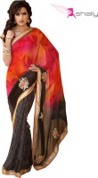 Shaily Self Design Fashion Georgette Saree(Multicolor)