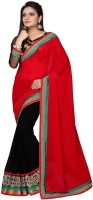 Dancing Girl Embroidered Bollywood Georgette Saree(Red, Black)