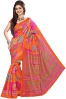 Khoobee Printed Fashion Poly Silk Saree(Pink, Orange)