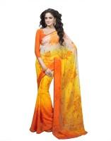 Suvastram Printed Fashion Poly Georgette Saree(Orange)