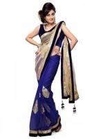 EthnicPark Self Design Bollywood Net Saree(Dark Blue, Beige)
