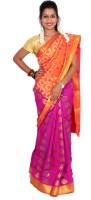 Thara Sarees Self Design Kanjivaram Art Silk Saree(Purple, Red)