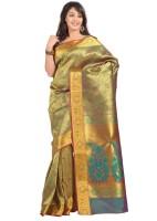 Varkala Silk Sarees Floral Print Kanjivaram Silk Saree(Green)