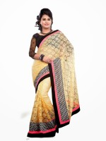 Dancing Girl Embroidered Bollywood Net Saree(Beige)