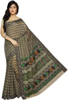 Rani Saahiba Printed Gadwal Cotton Saree(Beige, Black)