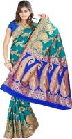 Indi Wardrobe Woven Banarasi Handloom Banarasi Silk Saree(Green)