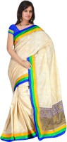 MGS Self Design Fashion Handloom Art Silk Saree(Beige)