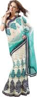 Aagaman Fashion Self Design Lehenga Saree Net, Velvet, Jacquard Saree(Beige)