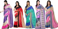 Florence Printed Daily Wear Synthetic Chiffon Saree(Pack of 5, Multicolor)