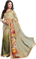 Indianbeauty Printed, Solid Bollywood Net, Pure Georgette Saree(Grey, Multicolor)