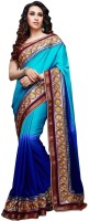 Saara Self Design Fashion Chiffon Saree(Blue)