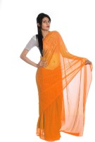 Aaradhya Fashion Printed Leheria Handloom Georgette Saree(Orange)