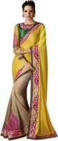 Desi Butik Self Design Fashion Jacquard Saree(Yellow)