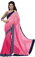 Vibes Embroidered Fashion Georgette Saree(Pink)
