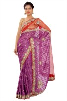 Shri Narayan Fashions Embellished Fashion Synthetic Georgette Saree(Purple, Red)
