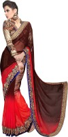 Khoobee Self Design, Embellished Fashion Georgette Saree(Red, Brown)