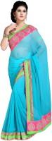 Jiya Self Design, Embroidered Fashion Chiffon Saree(Light Blue)