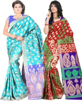 Its Banii Woven Banarasi Handloom Banarasi Silk Saree(Pack of 2, Blue, Red)