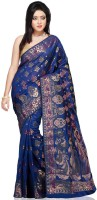 Bunkar Self Design Banarasi Cotton Saree(Blue, Multicolor)