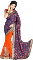 Khushali Self Design, Embroidered, Embellished Fashion Georgette Saree(Orange)