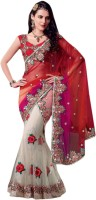 Aagaman Fashion Self Design Lehenga Saree Net, Art Silk Saree(Beige)