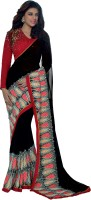 Admyrin Embroidered Fashion Georgette Saree(Black, Red, Beige)