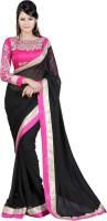 Indrani Solid Fashion Chiffon Saree(Black)