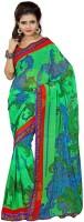 Patankar Fab Printed Bollywood Synthetic Chiffon Saree(Green)