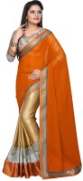 Nairiti Fashions Solid Bollywood Georgette Saree(Orange, Gold)