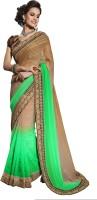 Khushali Self Design, Embellished Fashion Satin, Jacquard Saree(Light Green, Beige)