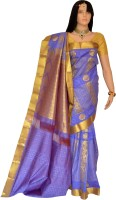 Lakshmi Lifestyle Self Design Kanjivaram Handloom Silk Saree(Purple)