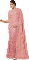 Saara Embroidered Fashion Silk Saree(Pink)