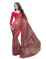 Suvastram Printed Fashion Poly Georgette Saree(Red)