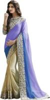 Saara Embroidered Fashion Chiffon Saree(Purple, Beige)