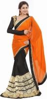 Khushali Self Design, Embroidered Fashion Georgette Saree(Orange, Black, Beige)