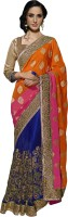 Khushali Self Design, Embellished, Embroidered Fashion Net Saree(Orange, Pink, Blue)