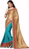 Admyrin Solid Fashion Jacquard Saree(Beige, Light Blue)