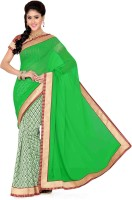 Saree Swarg Solid, Floral Print Bollywood Art Silk, Chiffon Saree(White, Green)